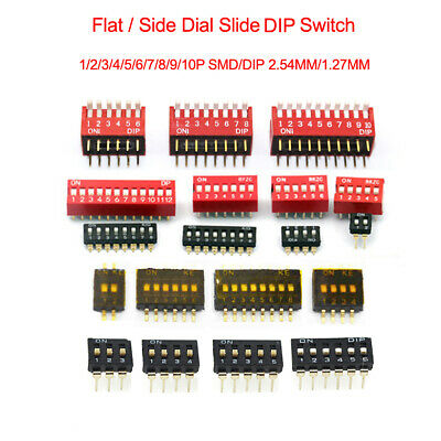 2.54MM/1.27MM Slide DIP Switch 1/2/3/4/5/6/7/8/9/10/11P SMD/DIP Switch SPST PCB
