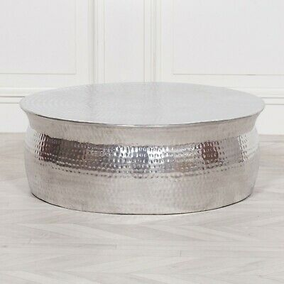 Modern Hammered Aluminium Round Drum Coffee Table Lamp Plant Silver Stand