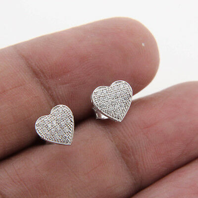0.10 CT Diamond 14k White Gold Finish Heart Shape Cluster Stud Earrings