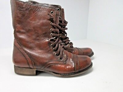 bff9a443878 STEVE MADDEN YALE Women's Distressed Brown Leather Ankle Boots Heels ...