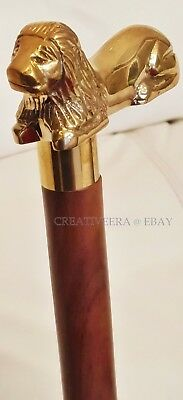 Antique Brass Vintage Style Wooden Walking Cane Stick Victorian Brown Wood Gifts
