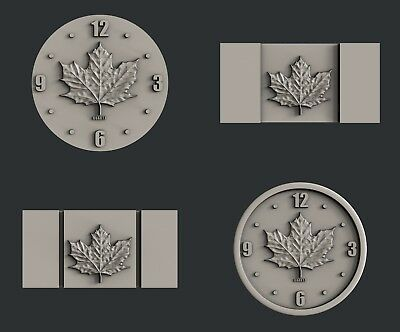 3d STL models for CNC, Artcam, Aspire, relief  Flag and Clock Canada