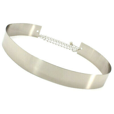 Womens Ladies Gold Silver Plate Metal Wide Mirror Waistband Hot Chain Belt UK