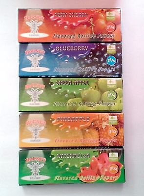5 Booklets Fruit Flavored Cigarette Tobacco 250 Rolling Papers 50 leaves per pak