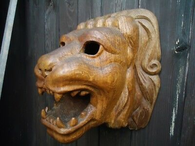 Antique Carved Wood Lion Head-Baroque-French Carving-Home Decor-Carving Figure
