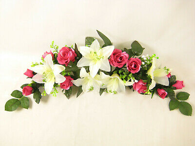 Artificial Flowers Rose Lily Swag / Slim Table Centrepiece Wedding Car Shelf