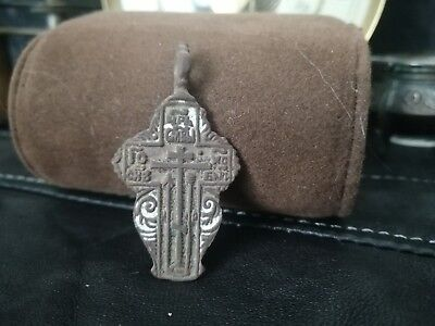 Antique cross Byzantine bronze Russian Orthodox