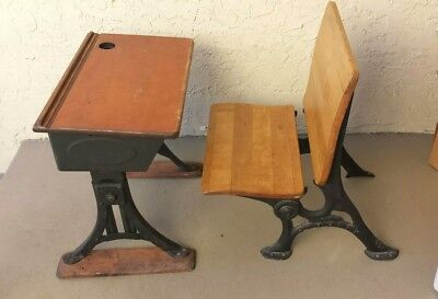 """Antique Child's School Iron / Wood Desk """"Eclipse"""" by Heywood & Chair by Simplex"""