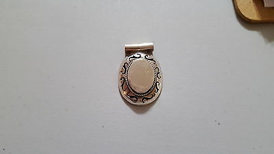 REDUCED Large heavy sterling silver oval scroll engravable slide pendant #938
