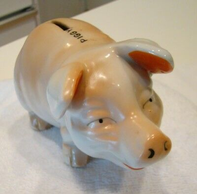 Vintage Ceramic Pink Floppy Ear Pig Piggy Bank Made In Japan MIJ