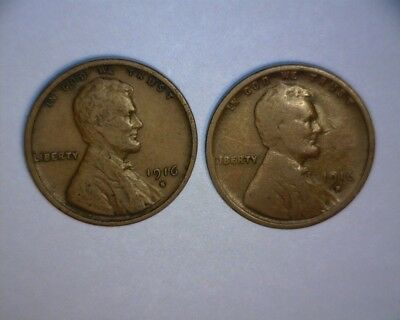1916 S, 1916 D  Lincoln Wheat Cents,  > 2-Better Date Coins<   Us  Coin