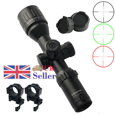 Tactical 3-9x32 Scope Red/ Blue Mil-dot Compact Rifle Scope Airsoft W/Mount UK