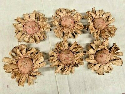 Primitive  Bowl Fillers/Flowers/Pigs Print/Farmhouse/Set of Six/Grunged