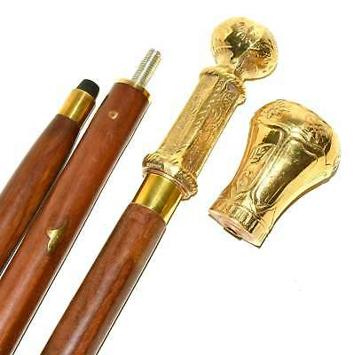 Gentlemens Classic Style Wooden Walking Stick Cane Brass Handle Brass Finish