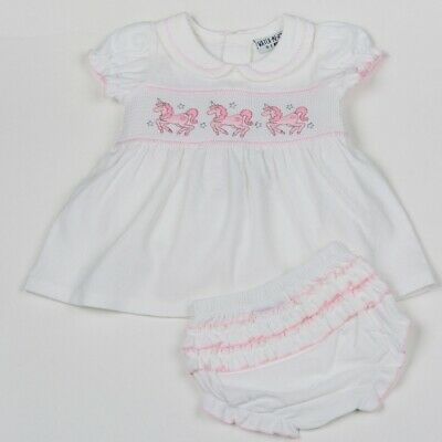Baby Girls Spanish Style Traditional White Smocked Unicorn Dress & Frilly Pants