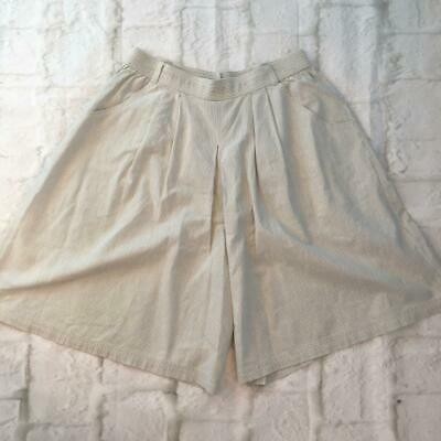 Vintage St Michael High Waisted Grey White Striped Wide Culotte Shorts Medium 14