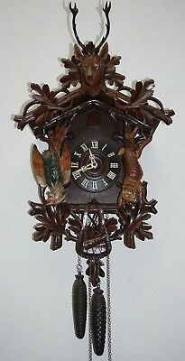 Antique Black Forest Wood & Polychrome Cuckoo Clock