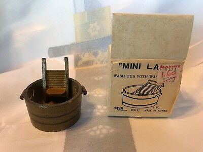 Mini Land Doll House Furniture Wash Tub With Washboard Vintage Original Box