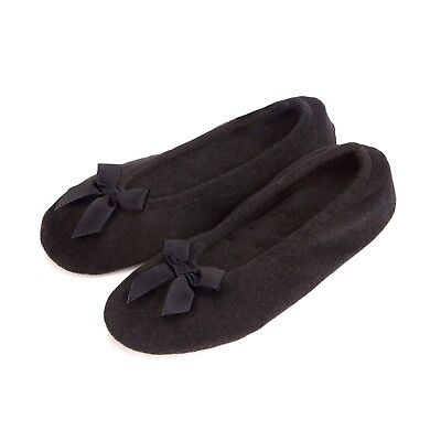 dd8b9906598a9 NEW TOTES Isotoner Black Terry Bow Ballet Indoor Slippers Women Size UK 3-8
