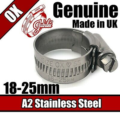 Genuine Jubilee Stainless Steel Clips Hose Pipe Clamp Worm Drive 18mm - 25mm 0X