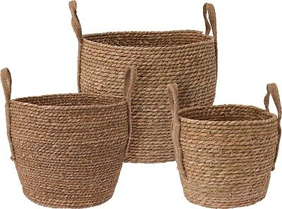 Round Woven Small Medium Large Storage Basket with Handles Hamper Box Container