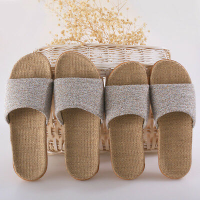 Women Men Anti-Slip Linen Flax Indoor Slippers Home Shoes House Open Toe Sandals