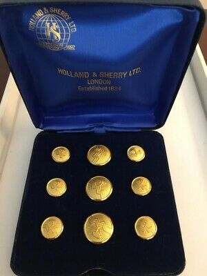 Holland & Sherry Gold Plated Blazer Buttons Boxed Set 3 Large 6 Small England