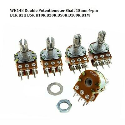 WH148 Double Potentiometer Shaft 15mm 6-pin B1K B2K B5K B10K B20K B50K B100K B1M