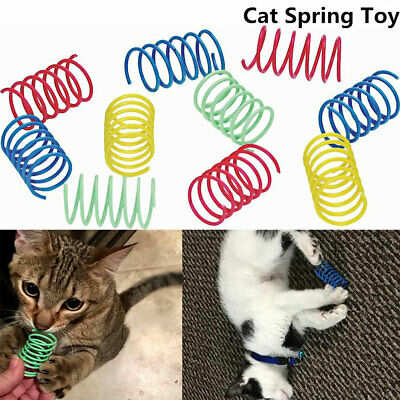 10pcs Pet Kitten Cat Toys Colorful Spring Plastic Bounce Random Color Sweet