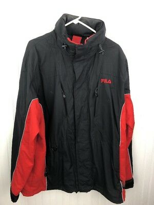 2026b85fe8ec4 Men's Vintage Fila Jacket Coat Hidden Hood Size Large L 90s Nylon Black Red  Rare