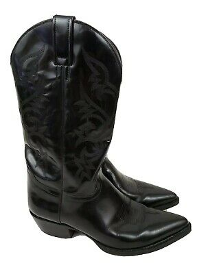 1323b01790f EL GENERAL COWBOY Boots 1901 Mens Size 9.5 Black Leather Embroidered ...