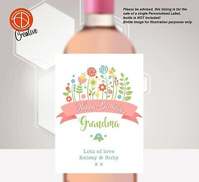 PERSONALISED Birthday Bottle LABEL UNIQUE GIFTS SPRING FLOWERS Friend Nan Sister