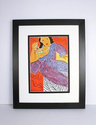 """MATISSE 1948 Antique Print """"Lady of the Orient holding Pearls FRAMED Signed COA"""