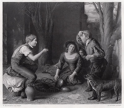 """Lovely William MULREADY 1800s Engraving """"The Butt: Shooting a Cherry"""" SIGNED COA"""