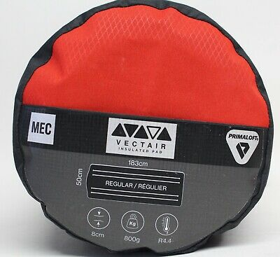 MEC Vectair Insulated Sleeping Pad - Regular - 183cm x 50cm - Fortune Red/Coal