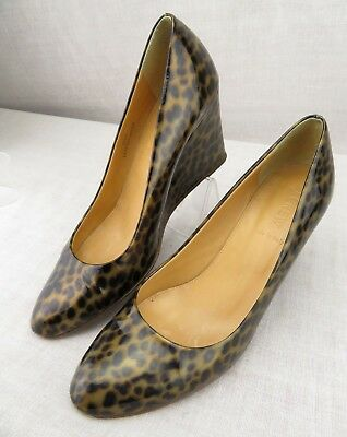 fe537ae8f J Crew Italy Martina Leopard Wedges Heels Patent Pumps Women's US 8.5 Slip  On