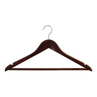 Hoesh Pack 25 Mahogany Wooden Coat Clothes Hangers Skirt Trouser Notched 45cm