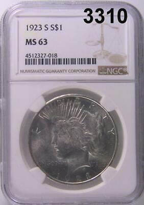 1923 S Ngc Certified Ms 63 Peace Silver Dollar Flashy White Luster! #3310