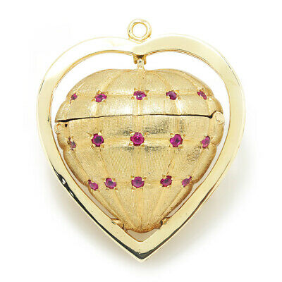Vintage Heart Locket Pendant Basket with Rubies 14K Yellow Gold .60ctw
