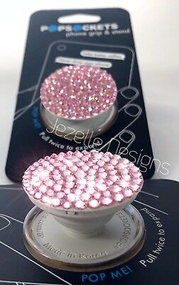 Bling Pink PopSocket w/ Genuine Swarovski Crystals Authentic Jeweled Pop Socket