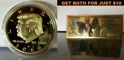 President Donald Trump/FIRST LADY $100 Trillion Bill 24K Gold BANKNOTE & COIN S1