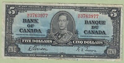 1937 Bank of Canada 5 Dollars Note - Gordon/towers - M/C3763977 - Fine