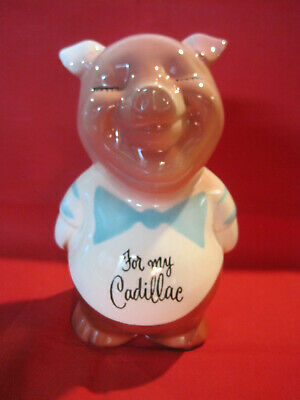 Vintage 1950s porcelain pig still bank piggy bank that says For My Cadillac