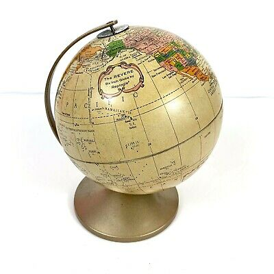 Vintage Replogle Globe The Revere 6 Inch World Spinning Metal Made in USA
