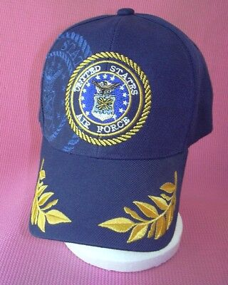 116d5cb6b29 US Air Force Navy Blue Gold Leaves Baseball Cap Embroidery Hat