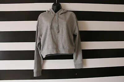 626442a1d00 H&M Basic Divided Women's Cropped Hoodie Cotton Blend Grey Size M Medium