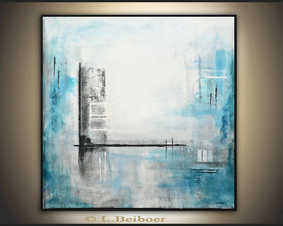 ORIGINAL MODERN FINE ART BLUE WHITE ABSTRACT CONTEMPORARY PAINTING L. Beiboer