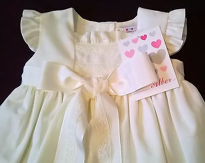 Spanish christening gown and bonnet by Alber Ivory Linen Blend newborn or 1m new