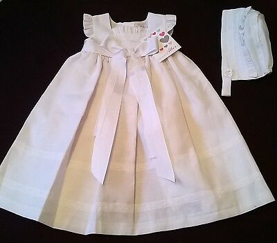 fabulous white linen blend christening gown Newborn Spanish Alber new