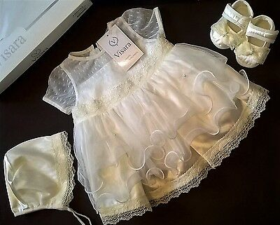 Visara gift boxed christening set dress, shoes + bonnet ivory 3-6m new